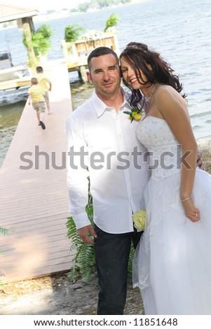 gorgeous wedding couple - stock photo