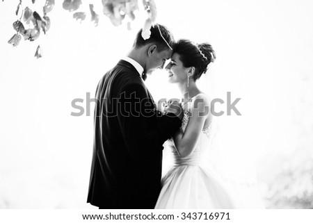 Gorgeous wedding couple at autumn park in love - stock photo