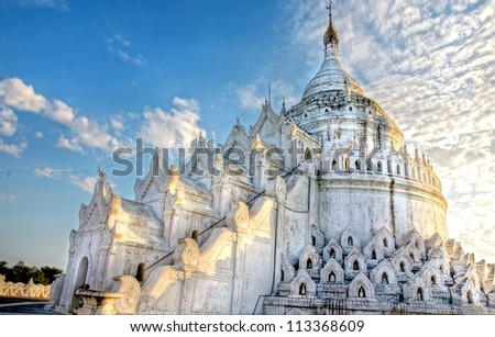 gorgeous white buddhist temple in asia, Myanmar - stock photo