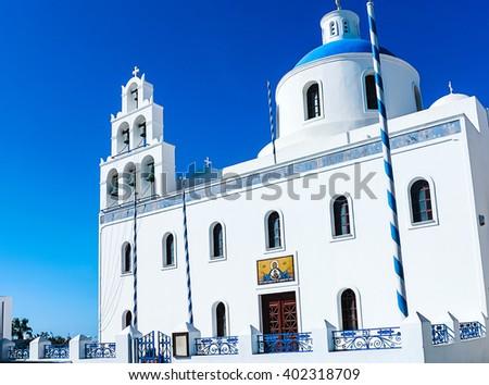 Gorgeous White Cycladic Church in Santorini, Greece - stock photo