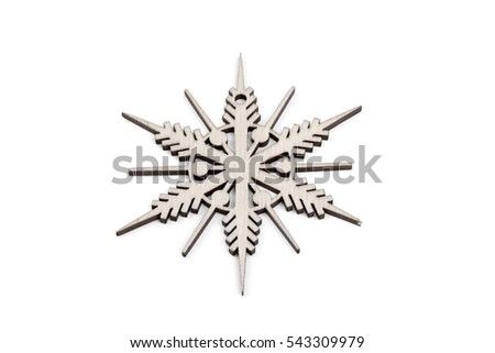 Gorgeous white wooden decoration - snowflake/ star. Adorable winter, Christmas, New Year, event decor made from solid wood. Isolated on white background. Side view. Closeup.