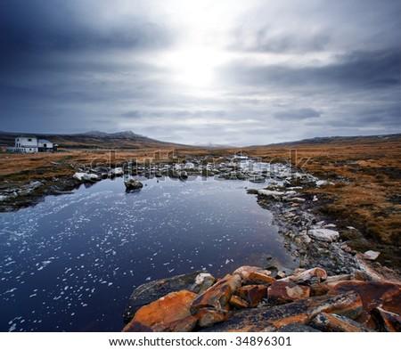 Gorgeous winter scene in the Falkland Islands - stock photo