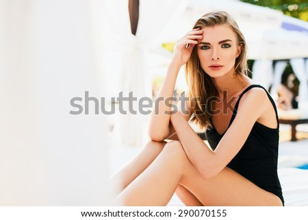 Gorgeous woman in swimsuit - stock photo