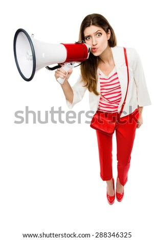 Gorgeous Woman on Megaphone