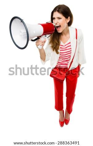 Gorgeous Woman on Megaphone  - stock photo
