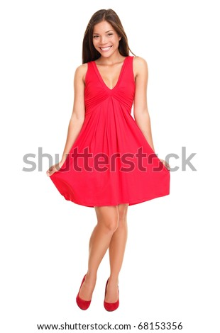 Gorgeous woman. Portrait of beautiful smiling young woman standing in cute red dress isolated on white background in full length. Sexy mixed race Chinese Asian / Caucasian female model. - stock photo