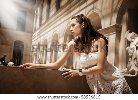 Gorgeous woman posing in a glamourous  interior - stock photo