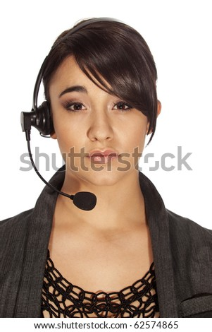 gorgeous woman with headset as used in voip and call centre communcations. - stock photo
