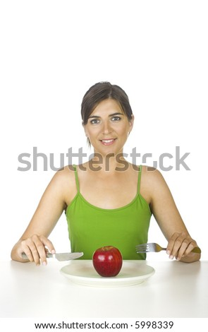 Gorgeous woman with hungry for a tasty apple