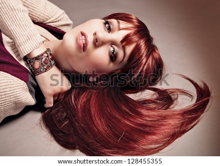 gorgeous woman with red hair - stock photo