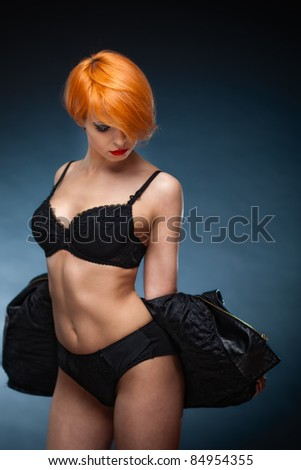 Gorgeous Women wearing sexy lingerie that emphasizes her breasts - stock photo
