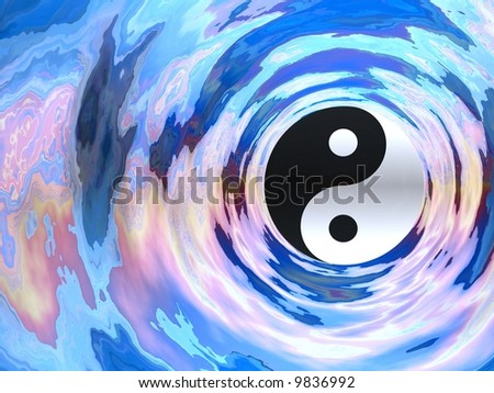 Gorgeous ying yang in a water tube - stock photo