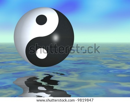 Gorgeous ying yang sphere in a fantasy setting - stock photo