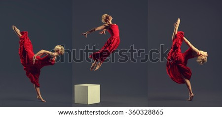 Gorgeous young ballet dancer wearing red dress over dark grey background. - stock photo