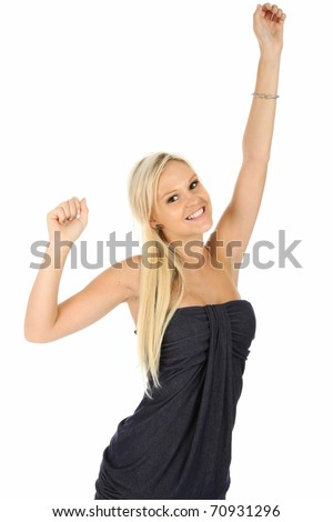 Gorgeous young blonde woman with arms up and cheering