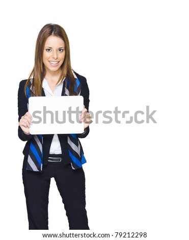 Gorgeous Young Brunette Business Woman Smiling While Displaying A Blank Copy Space Sign Or Empty Notice In A Branding And Advertising Agency Friendly Image - stock photo