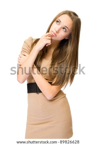 Gorgeous young brunette in thinking posture isolated on white background. - stock photo