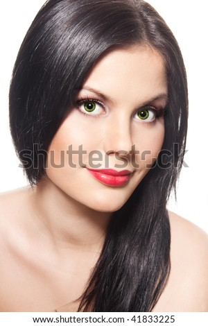 Gorgeous young brunette woman with red lips - stock photo