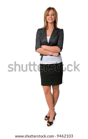 Gorgeous young business woman standing and smiling