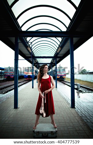 gorgeous young dancer spends time at the station - stock photo