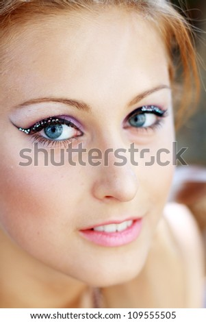 Gorgeous Young model beautiful women with perfect make up and perfect skin close up outdoor