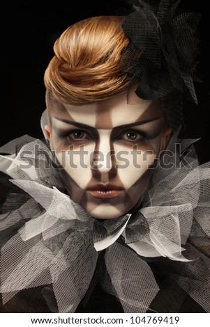 Gorgeous Young model with perfect art make up - stock photo