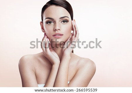 Gorgeous young model, youth and skin care concept  - stock photo