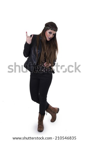 Gorgeous young rebel hippie rocker girl gesturing rock on isolated on white - stock photo