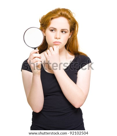 Gorgeous Young Red Haired Private Eye Detective With An Expression Of Complexity And Bafflement While Trying To Find And Solve A Puzzle To A Mystery, On White - stock photo