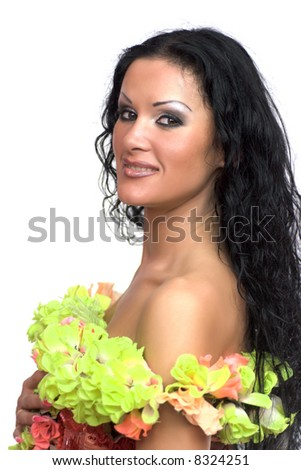 Gorgeous young woman wearing boa of green flowers