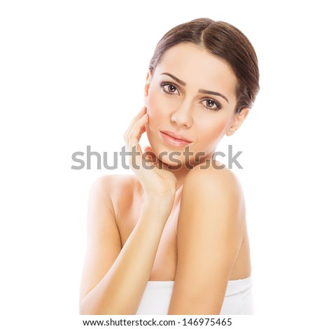 Gorgeous young woman with perfect skin - stock photo