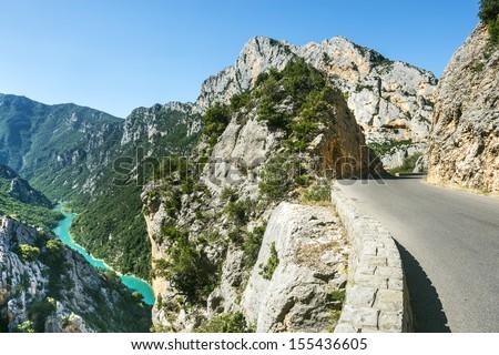 Gorges du Verdon (Alpes-de-Haute-Provence, Provence-Alpes-Cote d'Azur, France(, famous canyon - stock photo