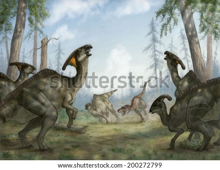 Gorgosaurus libratus hunting Parasaurolophus walkeri in Late Cretaceous North America - stock photo