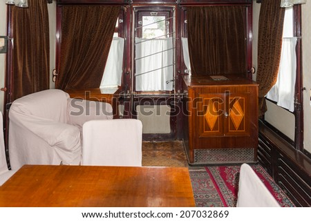 GORI, GEORGIA - JULY 21, 2014: Interior of the personal vagon of a train where Joseph Stalin travelled over Soviet Union in Gori. Stalin was the leader of the Soviet Union from the 1920s until in1953.