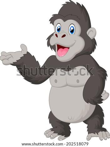 Happy Cartoon Gorilla Face Gorilla cartoon presenting