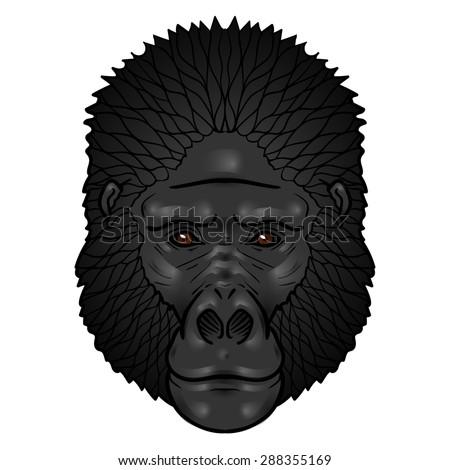 Gorilla head gradients. isolation on a white background - stock photo