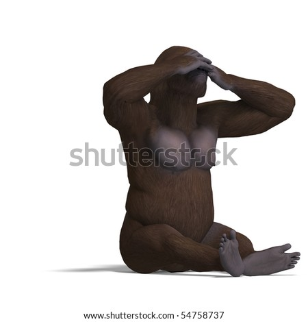 gorilla not seeing. rendering with clipping path and shadow over white