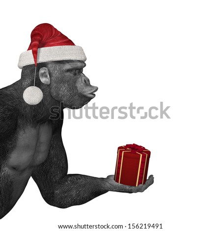 Gorilla Offering Gift - A gorilla with it's eyes closed and lips puckered wearing a Santa hat offering a gift and waiting for a kiss.  Bah Humbug - stock photo