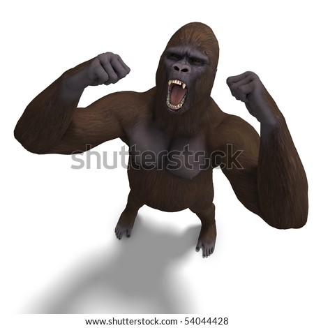 gorilla roaring. 3D rendering with clipping path and shadow over white