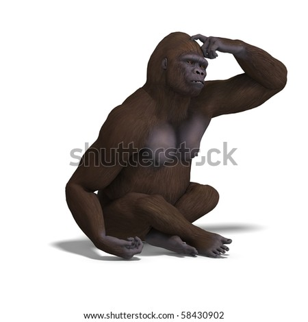 gorilla thinking. 3D rendering with clipping path and shadow over white