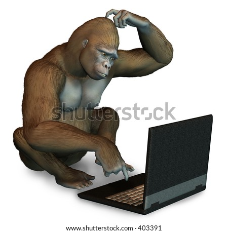 Gorilla trying to figure out how to use a laptop computer - 3D render