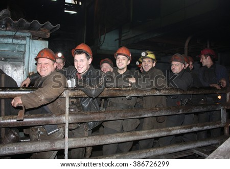 Gorlovka, Ukraine - October 12, 2015: Miners are in the queue before the descent into the underground workings. Mine name Rumyantsev - stock photo