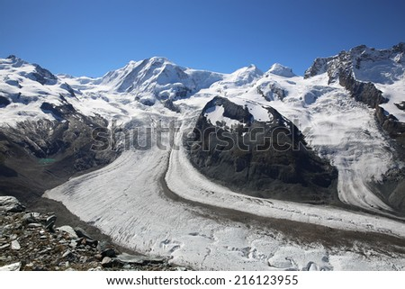 Gorner Glacier at Swiss Alps. Europe - stock photo