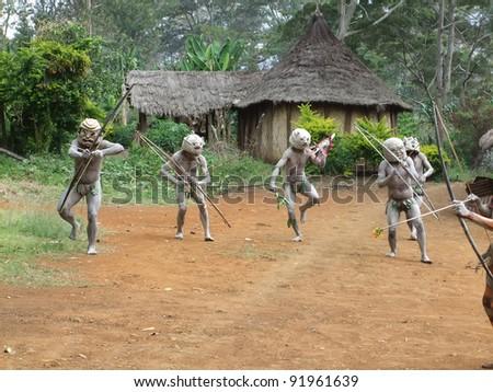 GOROKA, PAPUA, NEW GUINEA - SEPTEMBER 16: Mudman warriors at Goroka Tribal Festival in Goroka, Papua New Guinea on September 16, 2011 - stock photo