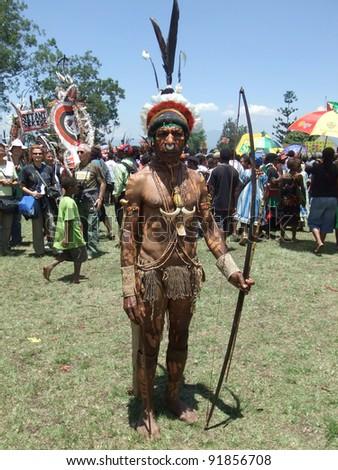 GOROKA, PAPUA, NEW GUINEA - SEPTEMBER 16: Papua warrior at Goroka Tribal Festival. Papua New Guinea on September 16, 2011 - stock photo