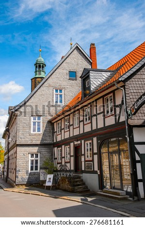 GOSLAR, GERMANY - MAY 4, 2015:  Houses in the Old Town of Goslar. Goslar Historic Town is a UNESCO World Heritage site