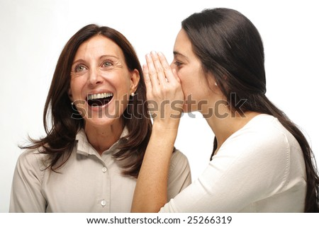 Gossiping businesswomen with amazed, astonished or embarrassed expression isolated on white - stock photo