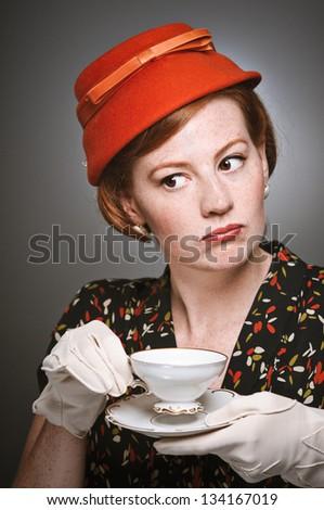 Gossiping tea party woman - stock photo