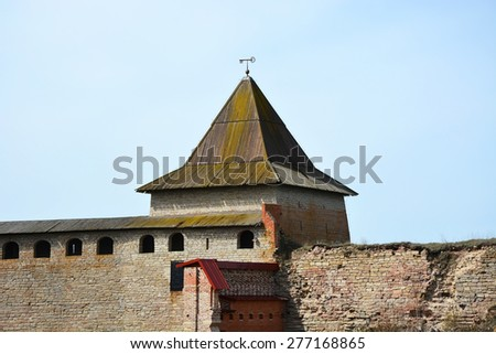 Gosudareva tower of the fortress at Shlisselburg city. Fortress called Oreshek (Nut fortress) - stock photo