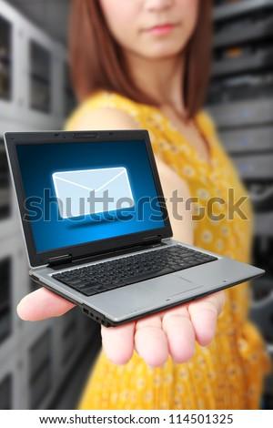 Got E-mail on laptop - stock photo